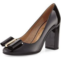 31044e6d0b33 Salvatore Ferragamo Elinda Patent Bow block heel pumps.