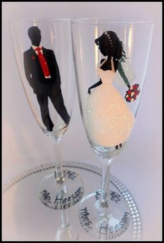 Champagne glasses wedding bride groom