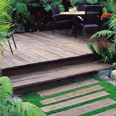 decking used as stepping stones - Google Search