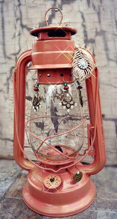 Railroad  Hanging Lantern,Coral lantern, shabby chic Glamping Camping Lantern, Vintage Style , Chantern