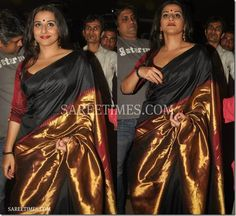 Vidya Balan in a beautiful black, gold Saree