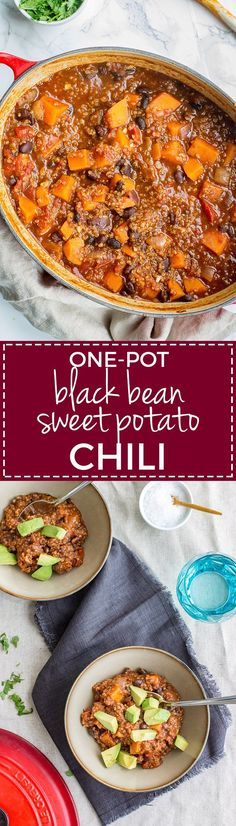 One-pot sweet potato black bean chili   The best vegetarian chili recipe - hearty, flavorful, and healthy! #vegetarian #chili #comfortfood