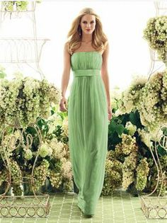 long bridesmaid dress in Apple green  wedbits.com