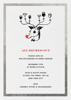 Reindeer Cocktails by kate spade new york for Paperless Post. Send custom online holiday party invitations with our easy-to-use design tools and RSVP tracking. View more holiday invitations on paperlesspost.com.  #cocktails #deer #kate #kate_spade #rudolph