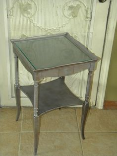 Vintage Silver End Table with Glass top