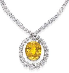 Harry Winston diamond and yellow sapphire necklace.