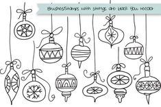 Set of 11 hand drawn bulbs (really just doodles) clipart, brushes and stamps. Christmas Doodles, Christmas Drawing, Diy Christmas Cards, Christmas Bulbs, Christmas Carol, 1 Clipart, Image Clipart, Christmas Envelopes, Calligraphy Doodles