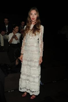 Anouska Beckwith wearing a Valentino gown from the Spring 2016 collection to the Women's Spring/Summer 2016 fashion show on October 6th, 2015.