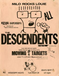 The Descendents w/ Moving Targets and Club Zero. Rock Posters, Band Posters, Music Posters, Concert Posters, Retro Posters, Festival Posters, Grateful Dead Poster, Grateful Dead Music, Punk Poster