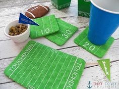 Football Field Coaster and Mug Rug Set, In The Hoop | In the Hoop | Machine Embroidery Designs | SWAKembroidery.com East Coast Applique