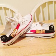 Chanel Lipstick Converse Shoes wish i new someone to do this for me