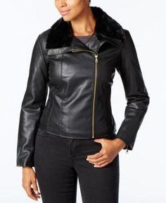 Cole Haan Signature Faux-Fur-Collar Moto Jacket - Black XL