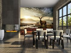 """Availability: on orderResistant, water-rejecting and scratch-proof fleece wallpaper """"Deers by mountain stream"""". Wallpaper """"Deers by mountain stream"""" with the inspiring motive will be an effective eye-catch for each interior. 3d Wallpaper Mural, Dining Chairs, Dining Table, Outdoor Furniture Sets, Outdoor Decor, Vintage Design, Wall Murals, Vibrant Colors, Street Art"""