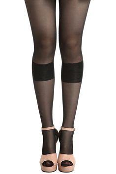 #Romwe Vertical Lace Stripe Black Tights