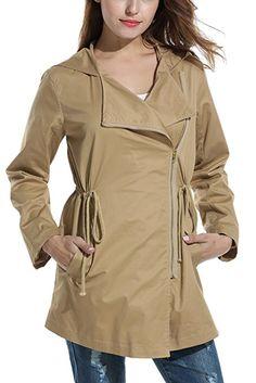 070be76c Zeagoo Women's Asymmetrical Zip Up Military Hoodie Jacket with Drawstring:  Amazon.co.uk: Clothing