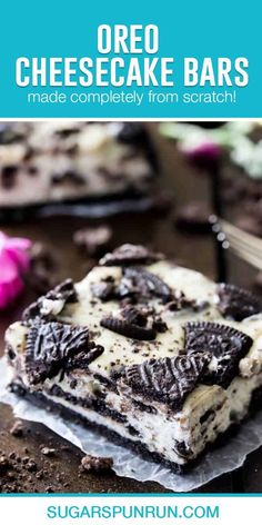 Oreo cheesecake bars are simple cheesecake treats that take cookies & cream desserts to the next level. Easy to make but enough to feed a crowd, this is a simple, sharable party-pleaser. Simple Cheesecake, Oreo Cheesecake Bars, Oreo Bars, Cookies And Cream Cheesecake, Cookie Bars, Easy No Bake Desserts, Delicious Desserts, Homemade Snickers, Strawberry Desserts