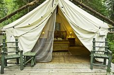 Glamping – Glamorous Camping in Ontario, Canada - Northern Ontario Travel Bell Tent Camping, Camping Glamping, Camping Life, Camping Ideas, Province Du Canada, Ontario Parks, Shower Tent, Ontario Travel, Visit Canada