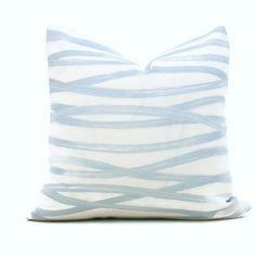 White Pillows, Toss Pillows, Linen Fabric, Cotton Linen, Decorative Pillow Covers, Schumacher, Modern Prints, Fabric Samples, Light Blue