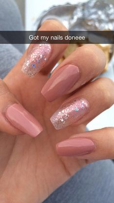 - ballerina nails -- 32 Affordable Pink Nail Art Ideas You Can Copy Coffin Nails Nude, Aycrlic Nails, Cute Nails, Trendy Nails, Glitter Nails, Nails 2016, Oval Nails, Elegant Nail Art, Nail Polish