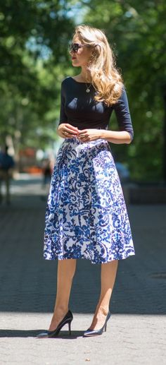 Milly periwinkle blue and navy floral full midi skirt, classic navy pumps, navy boatneck top, silver monogram necklace + white tweed cropped jacket. Nordstrom rocks!!