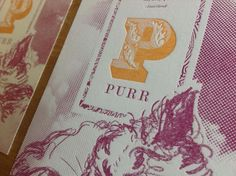 P is for Purr letterpress cards | Jamie Burwell Mixon | paperspecs.com