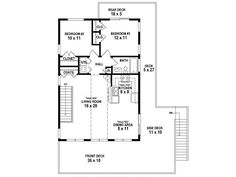 Two-car garage apartment plan offers parking and the basic necessities. Ideal for a vacation house. 2 bedrooms, 1 bath, 963 square feet of living space. Cabin House Plans, Cottage Floor Plans, Small House Plans, House Floor Plans, Garage Apartment Plans, Garage Apartments, Garage Plans, Barn Apartment, The Plan