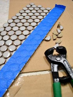 Penny Tile Can Be Tricky: What Worked For Us Gah! Tips for snipping mosaic/penny tile on Young House Love today, for the kitchen backsplash. Tips for snipping mosaic/penny tile on Young House Love today, for the kitchen backsplash. Blue Penny Tile, Penny Tile Floors, Bathroom Floor Tiles, Tile Bathrooms, Cement Tiles, Basement Bathroom, Mosaic Tiles, Wall Tiles, Craftsman Bathroom