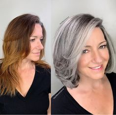 This beautiful client came to me from new hampshire with hair that had multi different light and dark brassy colors, she was seeking gray… Grey Hair Over 50, Short Grey Hair, Short Silver Hair, Silver Grey Hair, Curly Short, Curly Bob, Mom Hairstyles, Hairstyles Over 50, Curly Haircuts