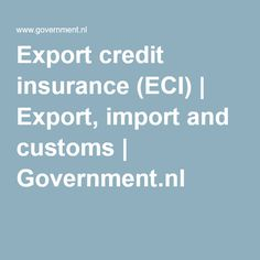 Export credit insurance (ECI) | Export, import and customs | Government.nl