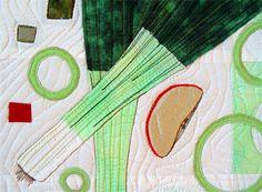 LEEKS SALAD Art Quilt Mint Green Recipe Art by BozenaWojtaszek,
