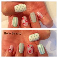 Cath Kidston Nails - Custom Mint Green with Rose Bud and Cream Puff - Shellac Nails