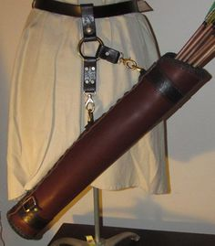Leather Side Quiver, Target Archery Quiver, Handmade to Order, SCA, LARP, Medieval