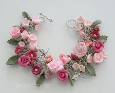 beautiful rose bracelet, beadscraftz