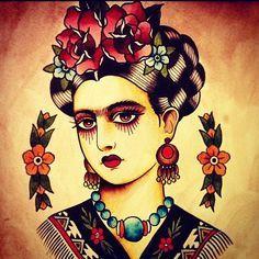 Resultado de imagem para tattoo old school frida kahlo