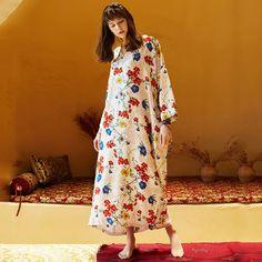 Women V-Neck Floral Fashion Style Casual Loose Maxi Long Sleeve Dress Floral Fashion, Fashion Prints, Bohemia Dress, Travel Dress, Holiday Dresses, Silk Dress, Types Of Sleeves, Long Sleeve, 120 Lbs