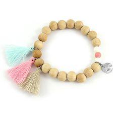 Bracelet élastique perles en bois pompons et sequin étoile