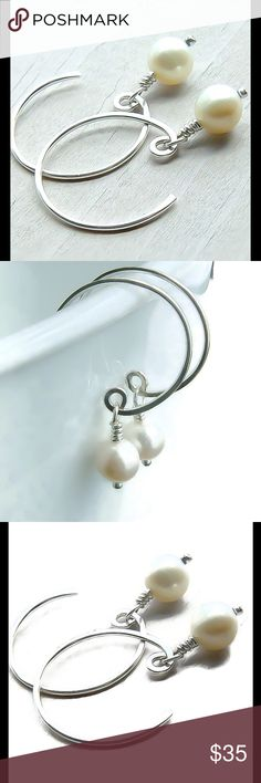 Pearl drop earrings A pretty pair of 925 Sterling silver Pearl drop earrings. Includes rubber backs. Posh rules only, no trades, no PayPal, no lowball offers. nejd Jewelry Earrings