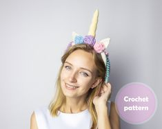 Headband Unicorn with flowers and mane Crochet Pattern PDF | Etsy Double Crochet, Single Crochet, Photo Pattern, Unicorn Headband, Metal Headbands, Craft Items, Pattern Paper, Etsy Handmade, Crochet Toys