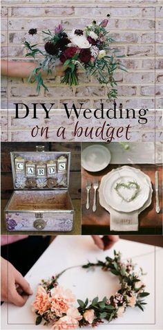 DIY Wedding on a budget   How to have a trendy, country rustic, vintage, floral wedding with out breaking the bank   Summer wedding tips for making your own DIY wedding bouquet, DIY floral headband, cards holder, table settings, hair trends, event decor, and even some free wedding printables   Brought to you by The DIY Lighthouse and other creative minds