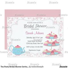 Tea Party Bridal Shower Invitation Pink Floral