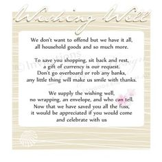 Wedding Gift Registry Quotes : well or bridal registry cards for Beach or Destination weddings ...