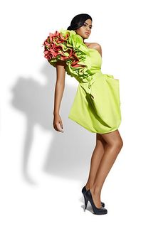 Big frilled shoulder dress by ShirleyJonkers on Etsy, €235.00