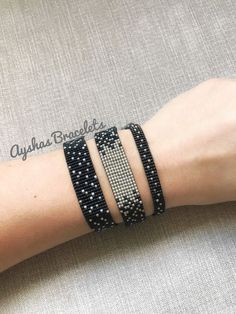 Black and Silver Miyuki Bracelet / Beaded Bracelet / Minimalist Style / Miyuki Bead Bracelet / Miyuki Delica - Armband Ideen Bead Loom Patterns, Bracelet Patterns, Beading Patterns, Bracelet Designs, Miyuki Beads, Bead Loom Bracelets, Silver Bracelets, Jewelry Bracelets, Diamond Bracelets