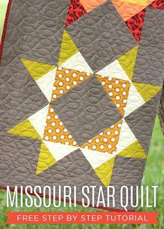 Missouri Star Quilt - modern fabrics in a classic star block - tutorial