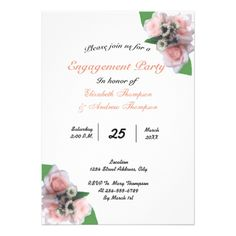 Romantic three pink roses floral Engagement Party Card - romantic wedding gifts marriage party idea cyo custom