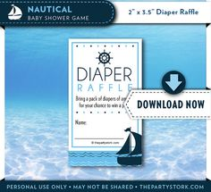 Nautical Baby Shower | Diaper Raffle Ticket | Blue | Printable Sailboat Themed Card Insert | Decor & Invitation Available INSTANT DOWNLOAD on Etsy, $6.99