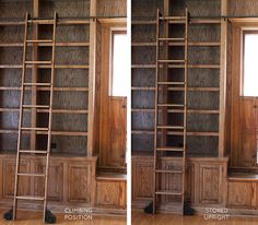 The Built-in Bookshelves and Rolling Ladder in the Library – Making it Lovely – Home Office Design Vintage Vintage Bookshelf, Ladder Bookshelf, Library Ladder, Vintage Library, Library Room, Bookshelves Built In, Built Ins, Bookcases, Diy Ladder