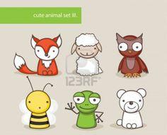 Colección de animales lindos de la historieta Foto de archivo - 15658558