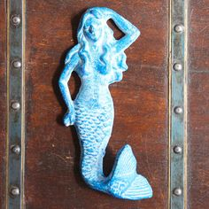 Beach Decor Cast Iron Sea Blue Mermaid Distressed by by SEASTYLE