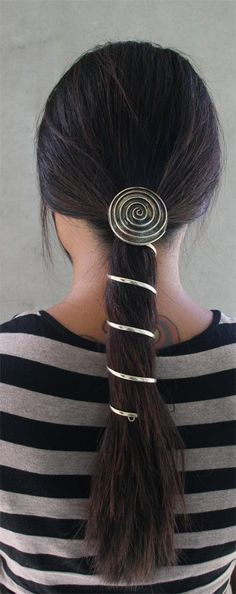 Ponytail Wrap Gold  6 Inch Large & Spiral Hair by medievalmetal, $32.90